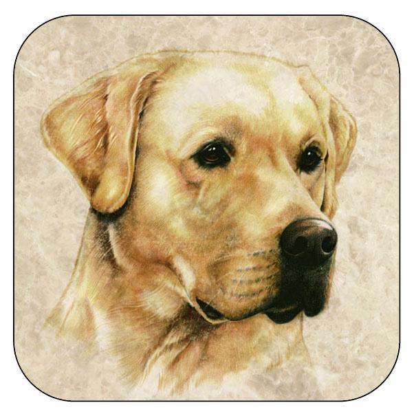 Onderzetter Labrador - afgeronde hoeken - 9,5 x 9,5 cm, per 3 stuks