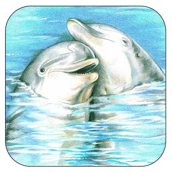 Onderzetter Dolfijnen  - afgeronde hoeken - 9,5 x 9,5 cm, per 3 stuks