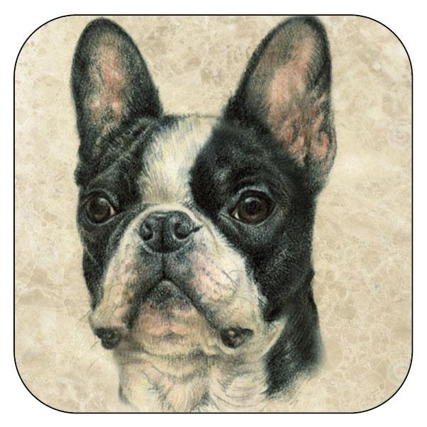 Onderzetter Franse Bulldog - afgeronde hoeken - 9,5 x 9,5 cm, per 3 stuks