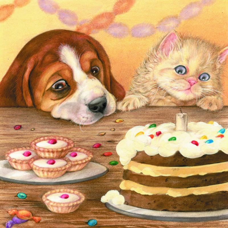 Gefeliciteerd - Beagle en pers nuttigen samen een stukje taart, per stuk