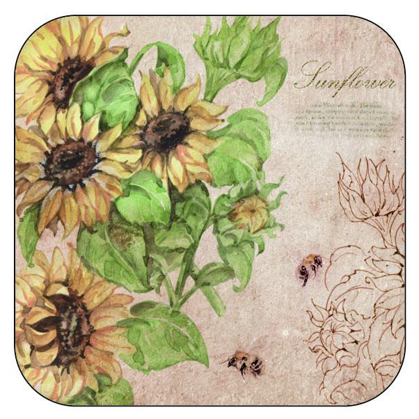 Onderzetter Zonnebloemen - afgeronde hoeken - 9,5 x 9,5 cm, per 3 stuks