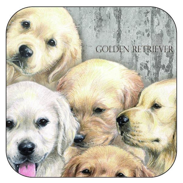 Onderzetter Golden Retrievers - afgeronde hoeken - 9,5 x 9,5 cm, per 3 stuks