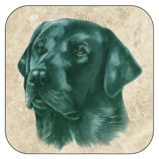 Onderzetter Zwarte Labrador - afgeronde hoeken - 9,5 x 9,5 cm, per 3 stuks