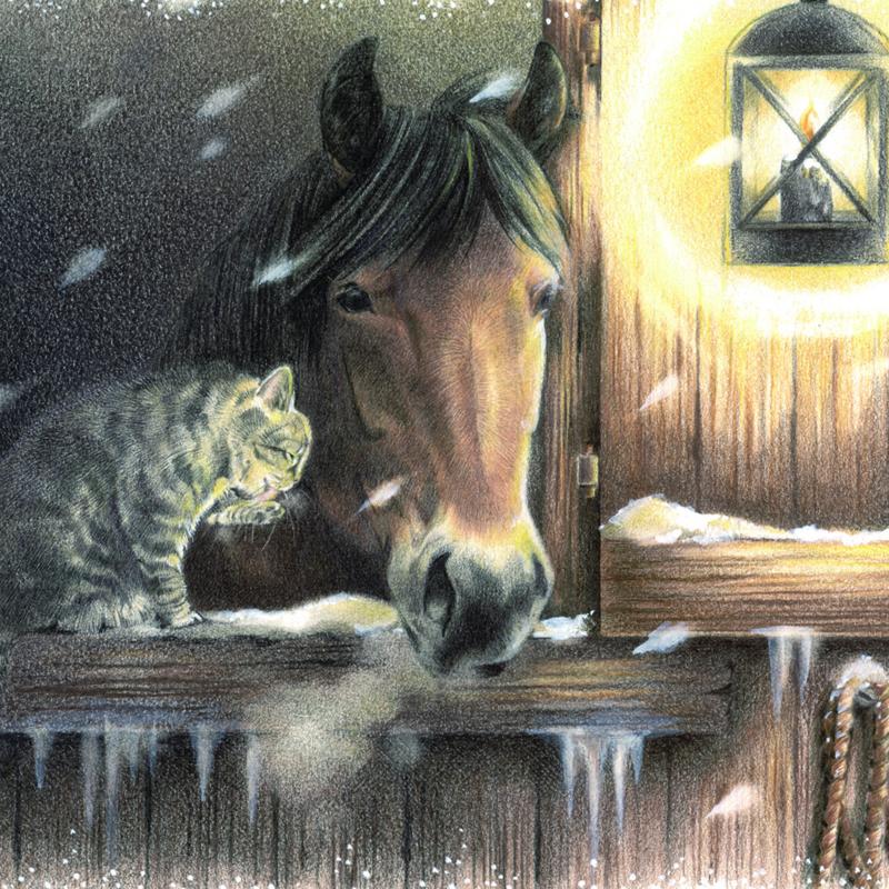 Wintertafereel: paard op stal, gezelschap van kat