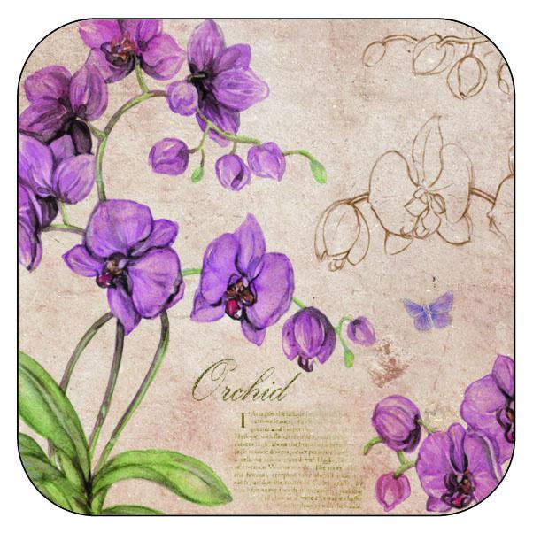 Onderzetter Orchidee - afgeronde hoeken - 9,5 x 9,5 cm, per 3 stuks