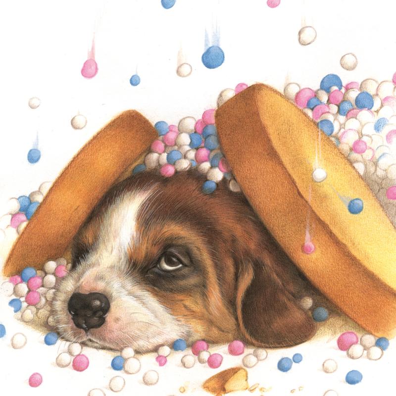 Geboortewens - Beagle/beschuit met muisjes, per stuk