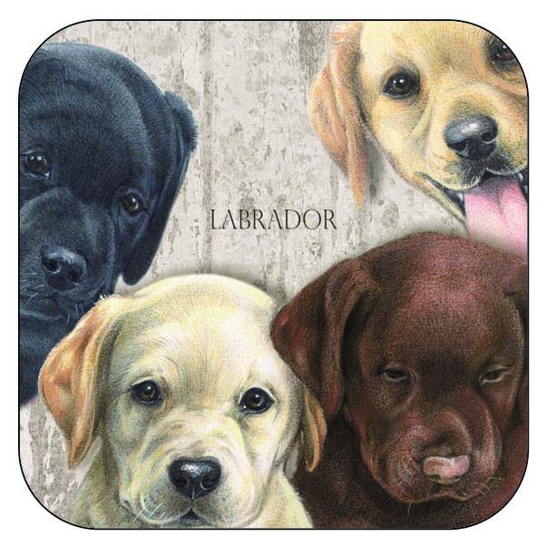 Onderzetter Labrador Retrievers - afgeronde hoeken - 9,5 x 9,5 cm, per 3 stuks