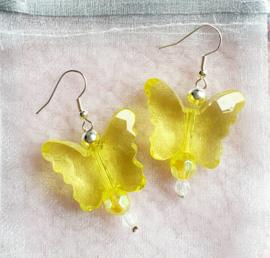 Oorbellen Vlinders geel
