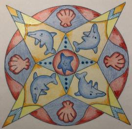 Krachtdieren kleuren in de mandala