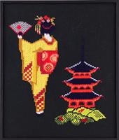 Geisha bij gebouw
