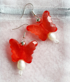 Oorbellen Vlinders rood