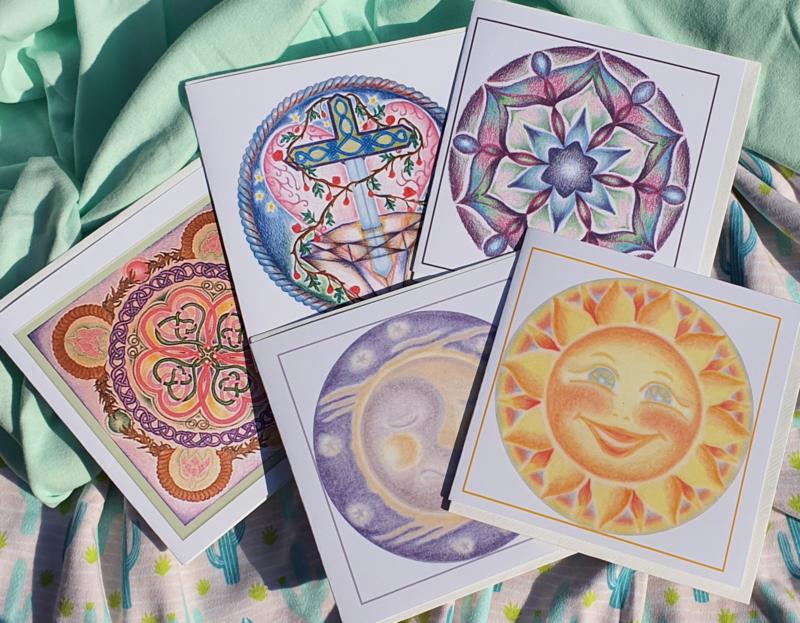 Set van 5 mandalakaarten