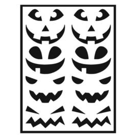 Traktatie stickers - pompoen gezichtjes mix