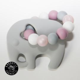 Bijtring olifant grijs roze