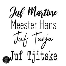 Vilten etui met naam Juf of Meester