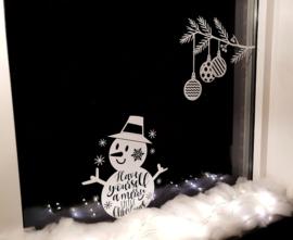 Kerst Raamsticker Voordeelset - Sneeuwpop & Tak