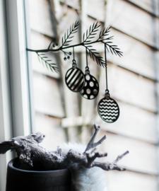 Kerst Raamsticker - Tak Kerstballen