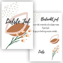 Kaart - Liefste Juf - bloemen