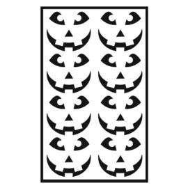 Traktatie stickers - pompoen gezichtjes 3 tandjes