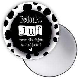 Spiegeltje - Bedankt Juf - zwart wit spots