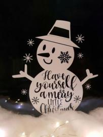 Kerst Raamsticker - Sneeuwpop
