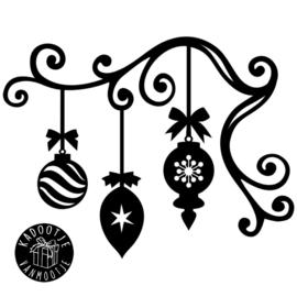 Kerst Raamsticker - Hoek ornament met Kerstballen