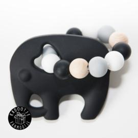 Bijtring olifant zwart