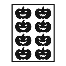 Traktatie stickers - pompoenen grijns