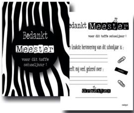 Kaart - Bedankt Meester - zebra