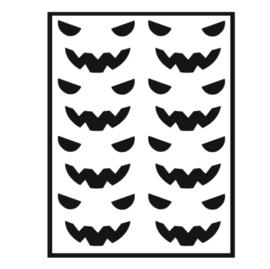 Traktatie stickers - pompoen gezichtjes grijns