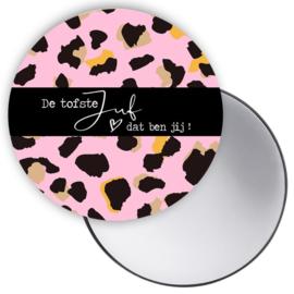 Spiegeltje - Tofste Juf - leopard roze