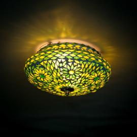 Plafondlamp mozaïek groen . Turks design - 25 cm.