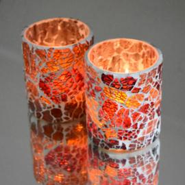 Waxinehouder cilinder rood-oranje craquelé glas. ( set prijs )