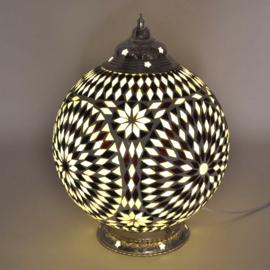 Mozaïek tafellamp 25 cm.  zwart wit - Turks
