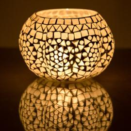Waxinehouder pumpkin mozaïek transparant XL. - 15 cm.