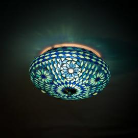 Plafondlamp mozaïek blauw. Turks design - 25 cm.