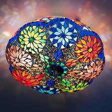 Plafonnière multi color mozaïek-kralen.