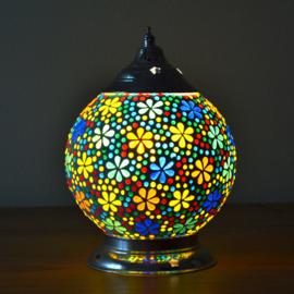 Mozaïek tafellamp 15 cm. - multi color flower
