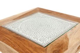 Oosterse bijzettafel met transparant mozaïek blad.