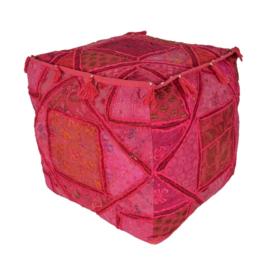 Oosterse poef Sari roze - vierkant