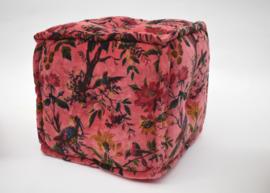 Oosters poef Pakshiyon - 40x40 cm. roze