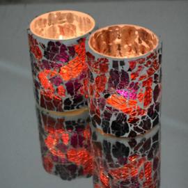 Waxinehouder cilinder paars rood craquelé glas. ( set prijs )
