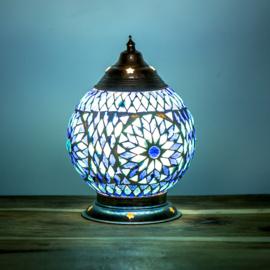 Mozaïek tafellamp 15 cm. - blauw