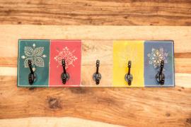 Kapstok handbeschilderd met 5 haken