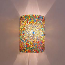 Oosterse mozaïek kralen wandlamp cilinder - multi color