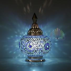Oosterse mozaïek tafellamp pumpkin - blauw
