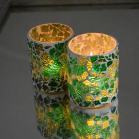 Waxinehouder cilinder groen craquelé glas ( set prijs ).