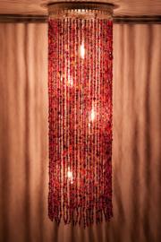 Hanglamp glaskralen rood-oranje