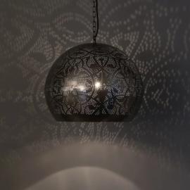Oosterse hanglamp open onderkant - vintage zilver