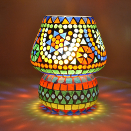 Oosters mozaïek tafellampje paddenstoel multi-color